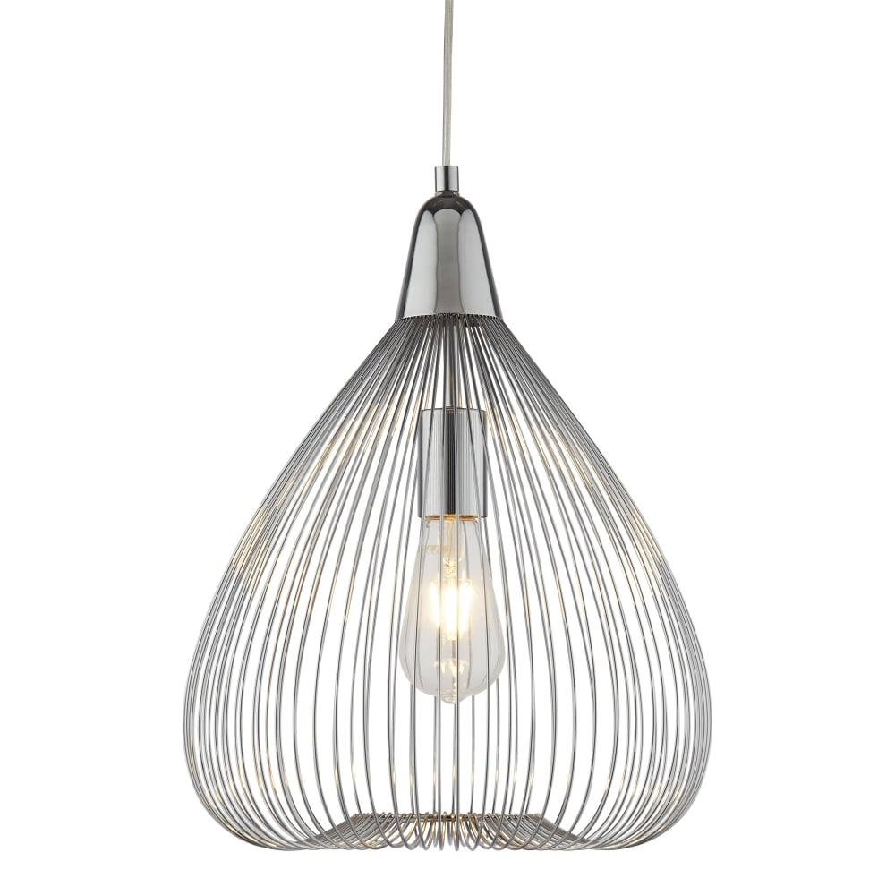 Searchlight Pumpkin Single Wire Cage Ceiling Pendant Light In Chrome Wiring A Lamp Finish 3591cc