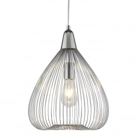 Pumpkin Single Wire Cage Ceiling Pendant Light In Chrome Finish 3591CC