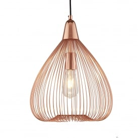 Pumpkin Single Wire Cage Ceiling Pendant Light In Shiny Copper Finish 3591CU