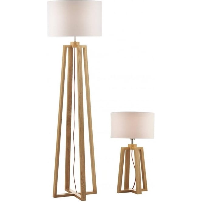 Dar Lighting Pyramid Table And Floor Lamp with Shades PYR4943