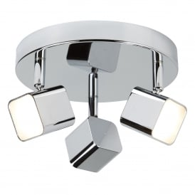 Quad Modern 3 Light Plate Ceiling Spotlight In Chrome Finish With Frosted Glass 4233CC