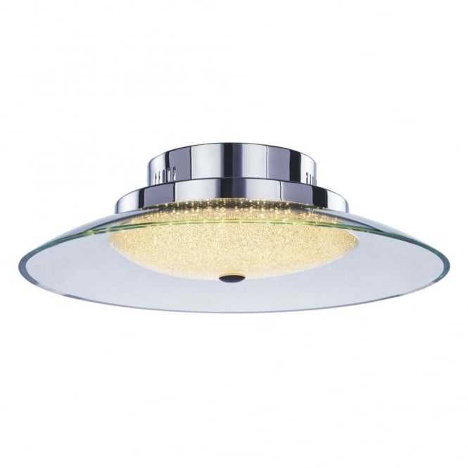 Illuminati Lighting Quartz Modern IP44 Flush Ceiling Light In Chrome Finish MX14003060-1A