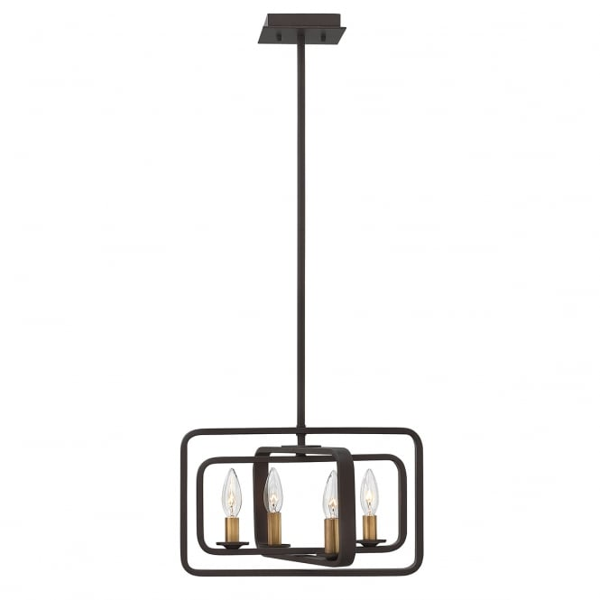 Hinkley Quentin 4 Light Duo Mount Chandelier In Buckeye Bronze Finish HK/QUENTIN/4P/A