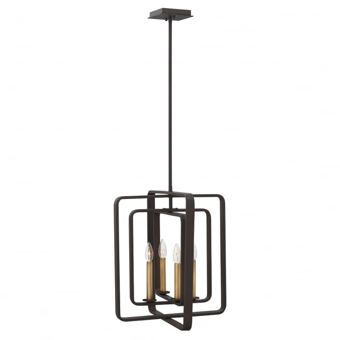 Hinkley Quentin 4 Light Square Chandelier In Buckeye Bronze Finish HK/QUENTIN/4P/B