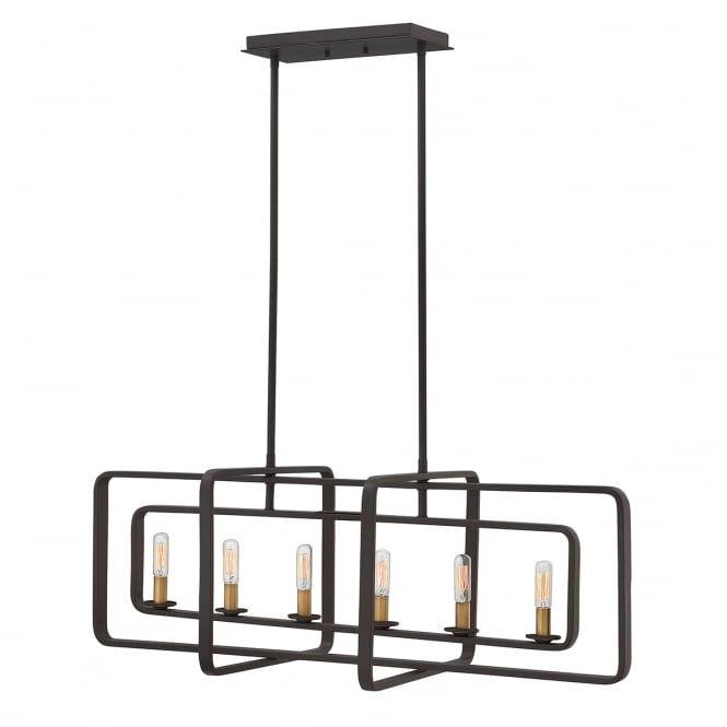 Hinkley Quentin 6 Light Island Chandelier In Buckeye Bronze Finish HK/QUENTIN/6ISLE