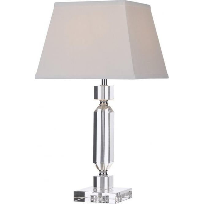Dar Lighting Quentin Modern Chrome & Crystal Table Lamp with Ivory Shade QUE4208