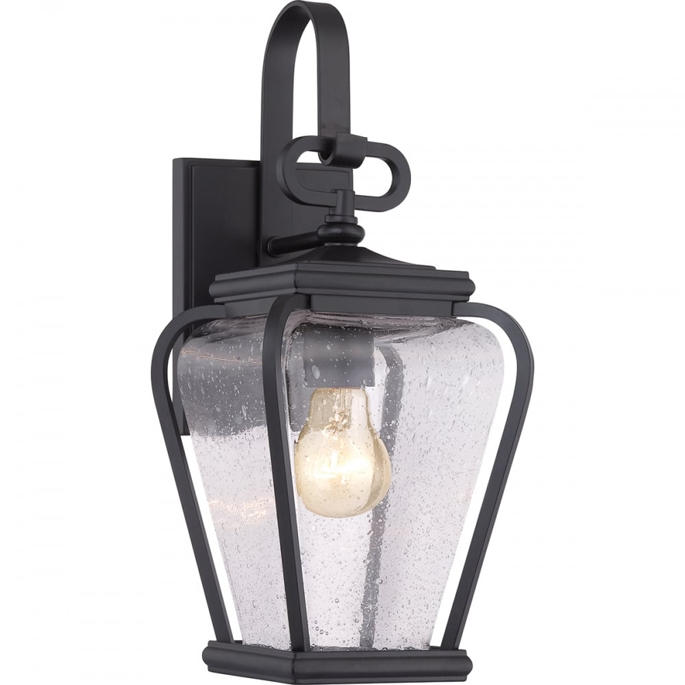 quoizel province outdoor small wall lantern in mystic black finish