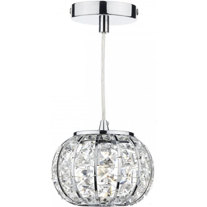 Dar Lighting Rae Modern Chrome and Glass Ceiling Pendant Light RAE0150