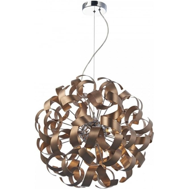 Dar Lighting Rawley 9 Light Satin Copper Ceiling Pendant RAW1364