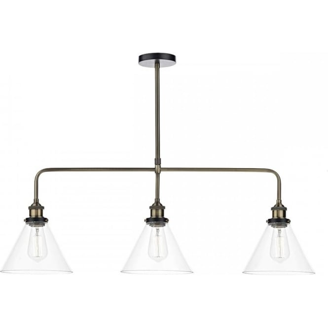 Dar Lighting RAY0375 RAY 3 light Clear Glass Bar Pendant Ceiling Light