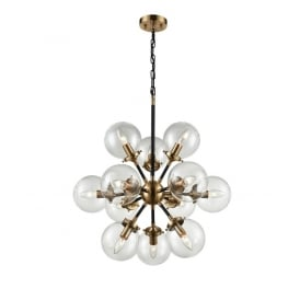 Reaction Modern 12 Light Ceiling Pendant In Black And Antique Gold With Glass Shades FL2370/12