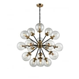 Reaction Modern 18 Light Ceiling Pendant In Black And Antique Gold With Glass Shades FL2370/18