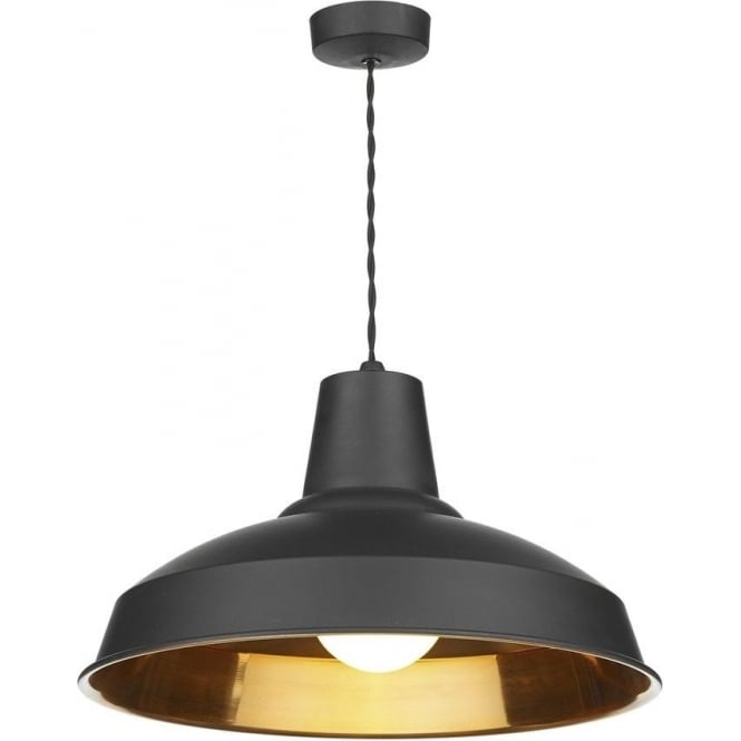 Dar Lighting REC0154 Reclamation Stylish 1 Light Black/Copper Ceiling Pendant
