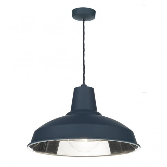 Dar Lighting Reclamation Vintage Ceiling Pendant Light In Smoke Blue Finish REC0173