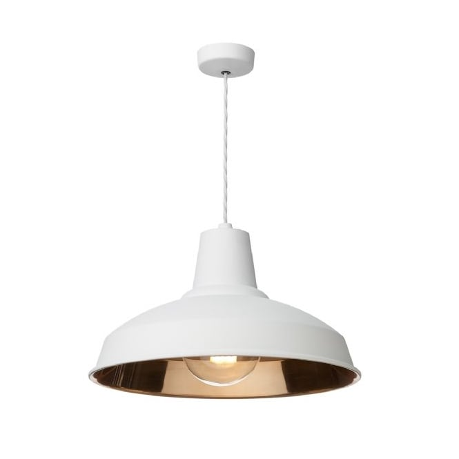 David Hunt Lighting Reclamation Vintage Ceiling Pendant Light In White Finish REC0102