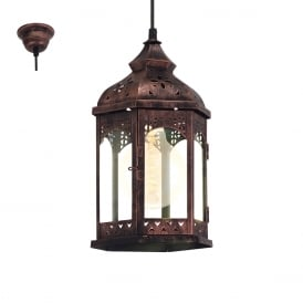 Redford Vintage Ceiling Lantern In Coppery Finish 49224