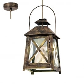Redford Vintage Ceiling Lantern In Gold Red Finish 49347