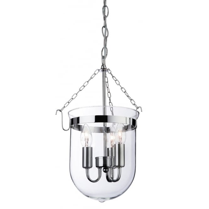 Firstlight Regal Ceiling Pendant Lantern In Chrome Finish With Clear Glass Shade 8636
