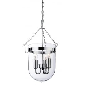 Regal Ceiling Pendant Lantern In Chrome Finish With Clear Glass Shade 8636
