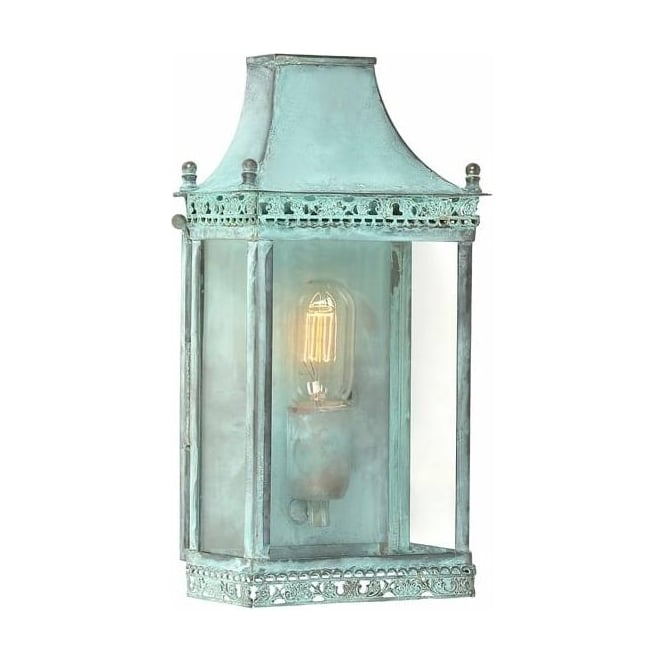 Elstead Regents Park Solid Brass Outdoor Verdigris Wall Lantern