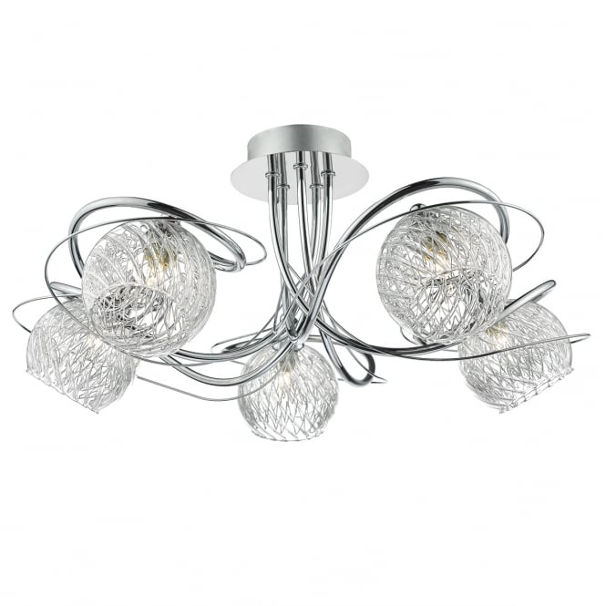 Dar Lighting Rehan Glass Semi Flush Ceiling Light In Polished Chrome Finish REH0550