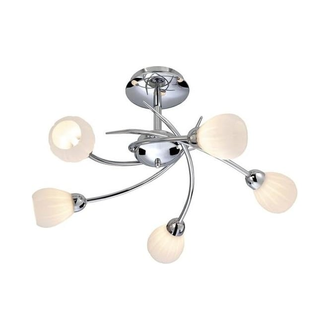Firstlight Rena 5 Light Chrome Semi-Flush Ceiling Lamp With Opal Glass 8235