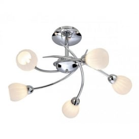 Rena 5 Light Chrome Semi-Flush Ceiling Lamp With Opal Glass 8235