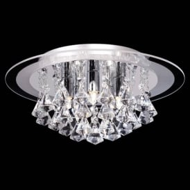 RENNER-5CH 5 Light Semi Flush Chrome & Crystal Ceiling Light