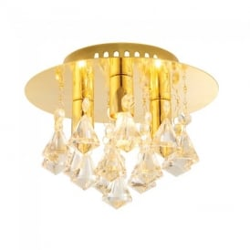 Renner Modern Champagne Crystal Glass 3 Light Flush Ceiling Light 61244