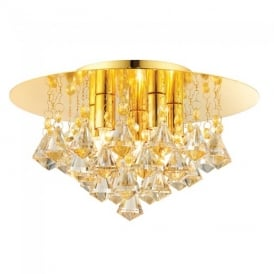 Renner Modern Champagne Crystal Glass 5 Light Flush Ceiling Light 61245
