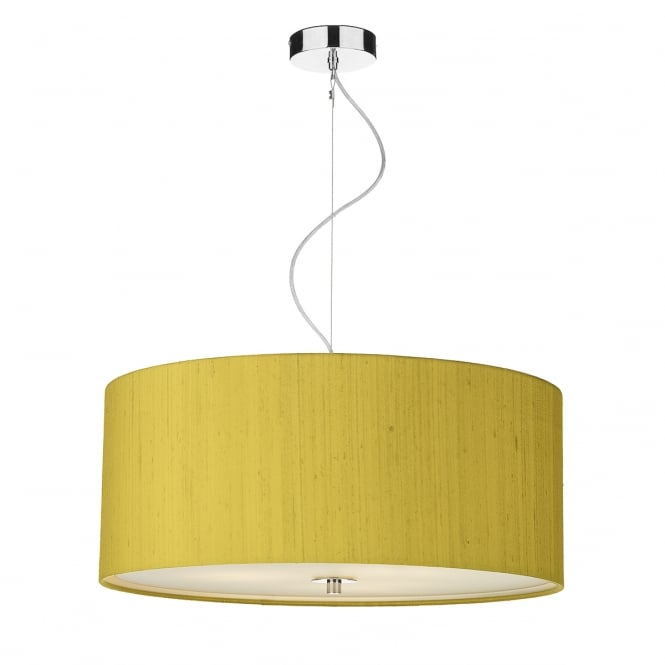 Dar Lighting Renoir 60 cm Ceiling Pendant Light With Citron Silk Shade REN1735