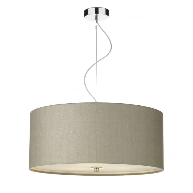 Light Shade Studio Renoir 60 cm Ceiling Pendant Light With Linen Grey Silk Shade REN1786