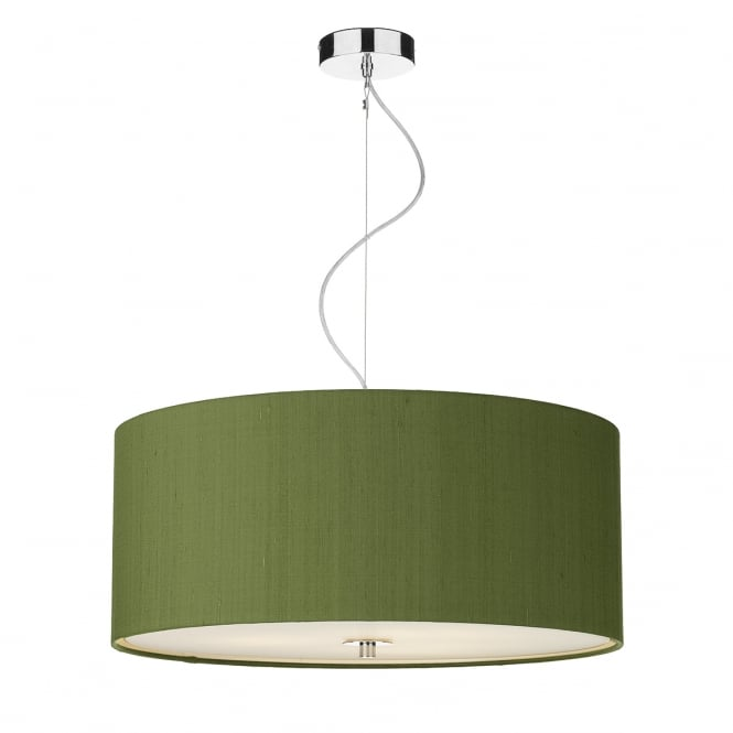 Dar Lighting Renoir 60 cm Ceiling Pendant Light With Olive Green Silk Shade REN1776