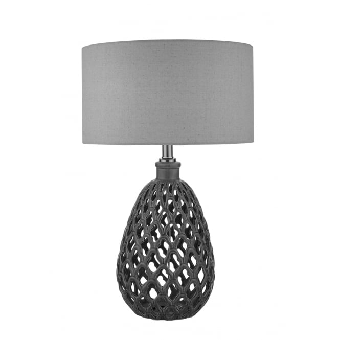 Dar Lighting Reseda Ceramic Table Lamp With Linen Shade RES4224/X
