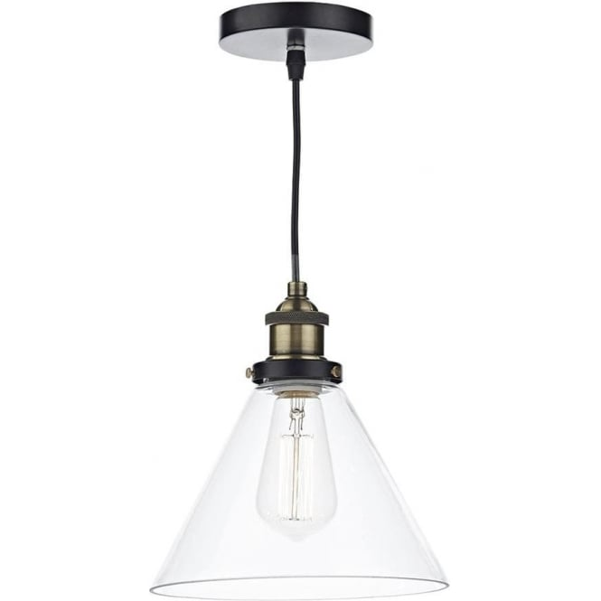 Dar Lighting Retro Vintage Style Edison Glass Ceiling Pendant Light RAY0175 Ray