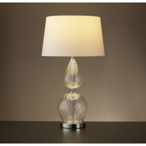 Ribbed Glass Table Lamp With White Tapered Shade 3401CL