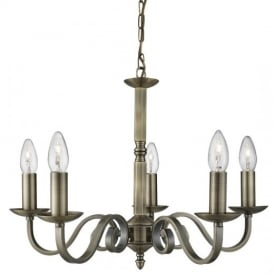 Richmond Traditional 5 Light Ceiling Pendant Light in Antique Brass Finish 1505-5AB