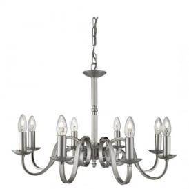 Richmond Traditional 8 Light Ceiling Pendant Light in Satin Silver Finish 1508-8SS