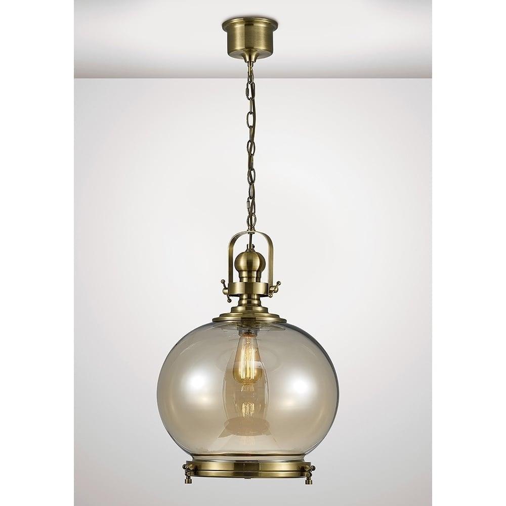 Riley Large Globe Ceiling Pendant Lantern In Antique Brass Finish Il31598