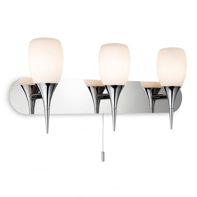 Firstlight Robano Bathroom 3 Light Wall Light In Chrome With Opal Glass 8642