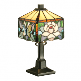 Rochette Unique Squared Tiffany Mini Table Lamp With Floral Design 64316