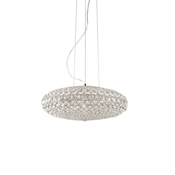 Illuminati Lighting Roma Crystal 9 Light Ceiling Pendent In Polished Chrome Finish MD1203210-9A