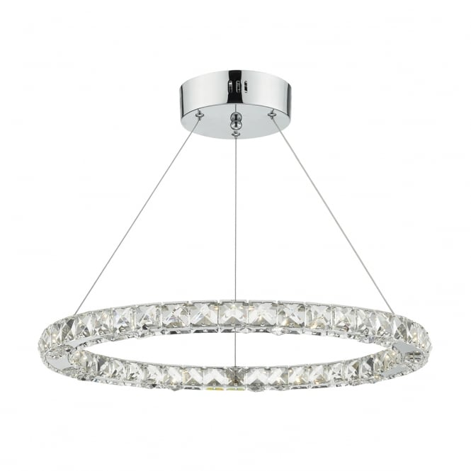 Dar Lighting Roma LED Ceiling Pendant Light With Faceted Crystal Squares ROM1750