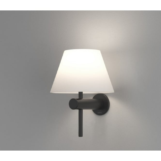 Astro Lighting Roma Modern Wall Light In Polished Black Finish With White Shade IP44 8033