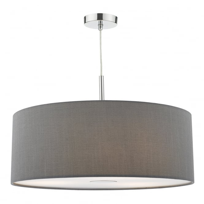 Dar Lighting Ronda 60 cm Ceiling Pendant Light With Grey Faux Silk Shade RON1739