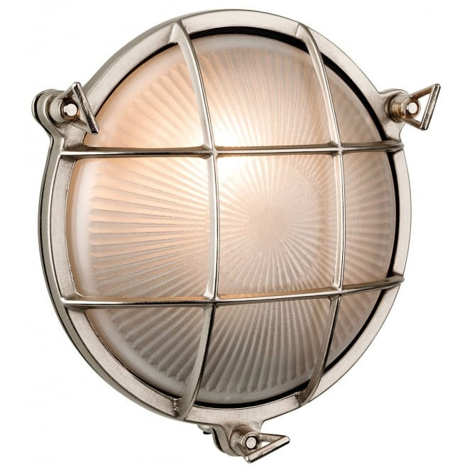 Firstlight Round Outdoor Wall Light in Nickel Finish IP65 3434NC