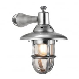 Rowling Industrial Style Wall Light In Tarnished Silver Finish 69767