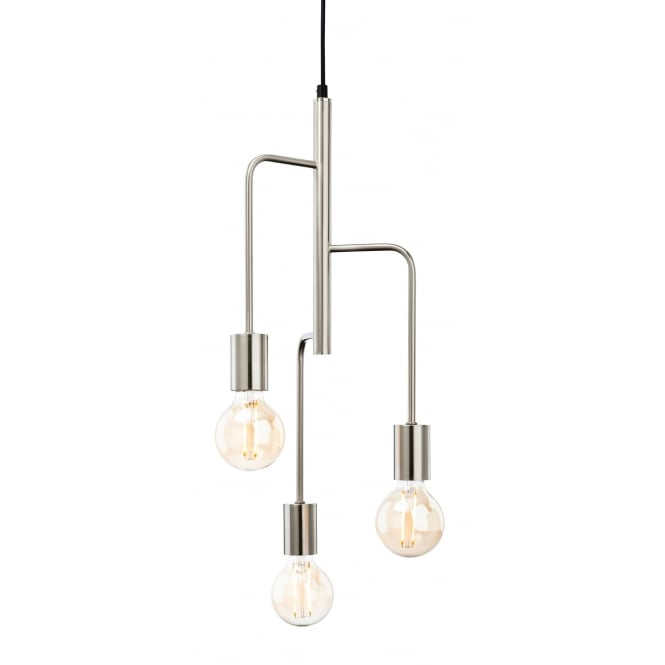 Firstlight Roxy Contemporary 3 Light Ceiling Pendent In Brushed Steel Finish 4866BS