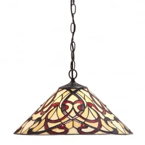 Ruban Tiffany Medium Ceiling Pendant Light With Red And Cream Art Glass 64320