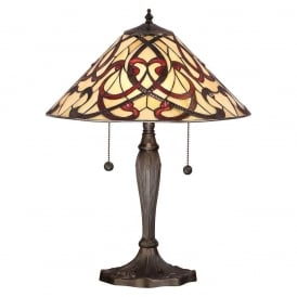 Ruban Tiffany Medium Table Lamp With Red And Cream Art Glass 64321
